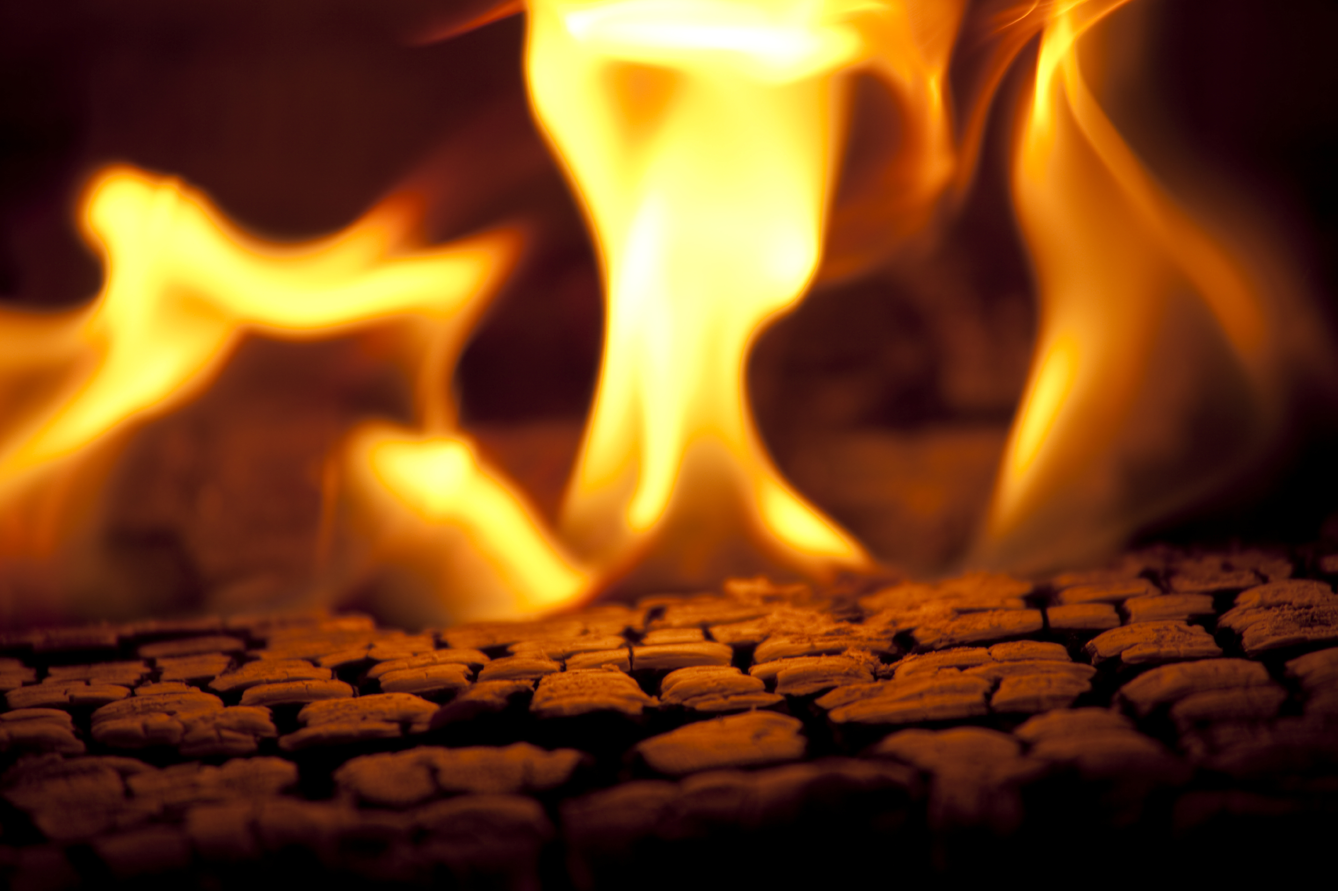 Closeup of a lit fireplace